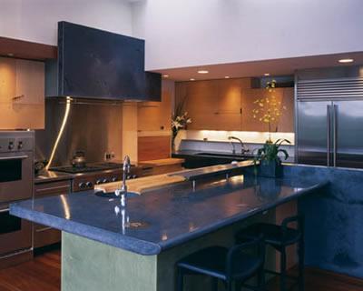 Kitchen soapstone Blue Large Island